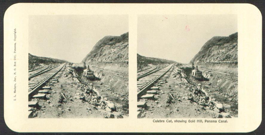 Gold Hill Culebra Cut Maduro Stereoview Panama 1900s