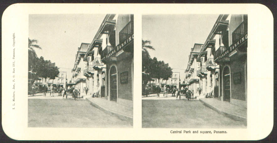 Central Park & Square Maduro Stereoview Panama 1900s