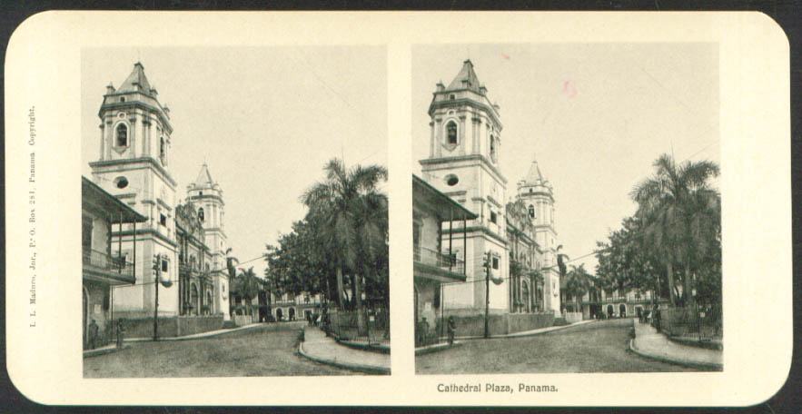 Cathedral Plaza Maduro Stereoview Panama 1900s
