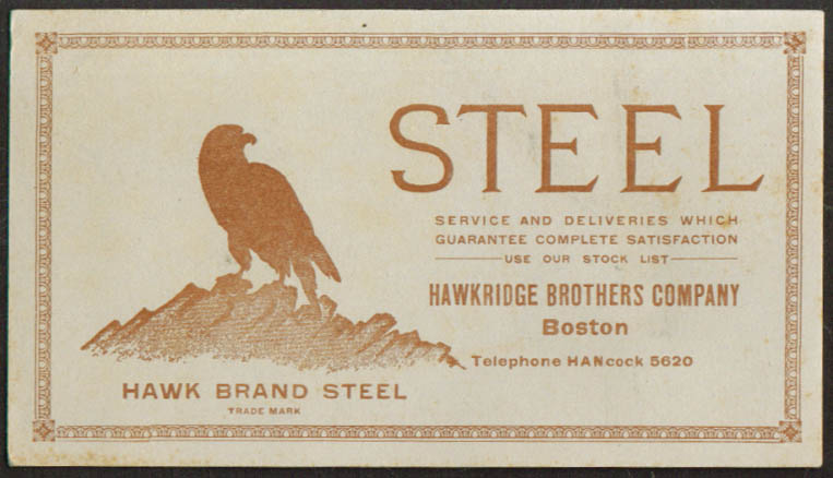Hawkbridge Bros Hawk Brand Steel Boston ad blotter 1910s