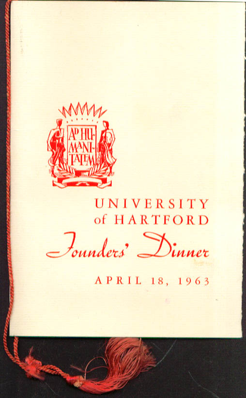 University of Hartford Founders Dinner Program 1963 CT