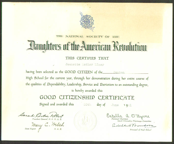 DAR Good Citizen Certificate Canton CT 1941