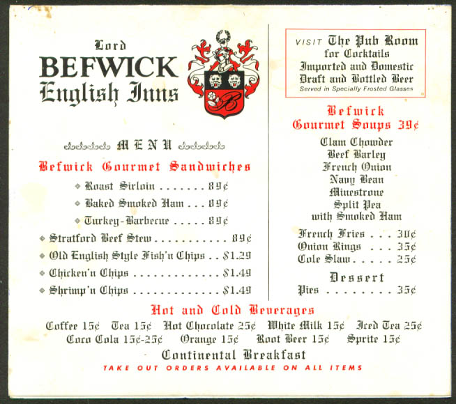 Lord Befwick English Inns tabeltop stand-up menu 60s
