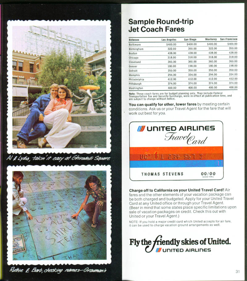 California The United Airlines Way brochure 1978