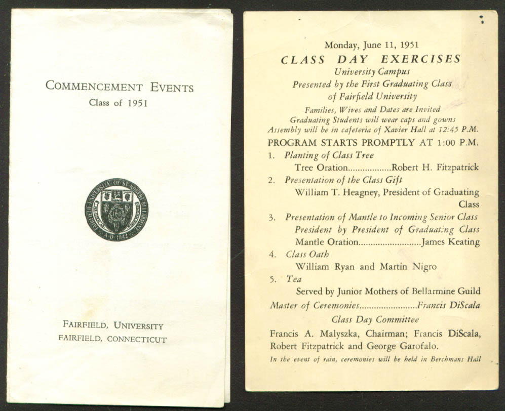 Fairfield Commencement & Class Day Events 1951