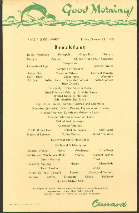 Cunard RMS Queen Mary Breakfast Menu 1960