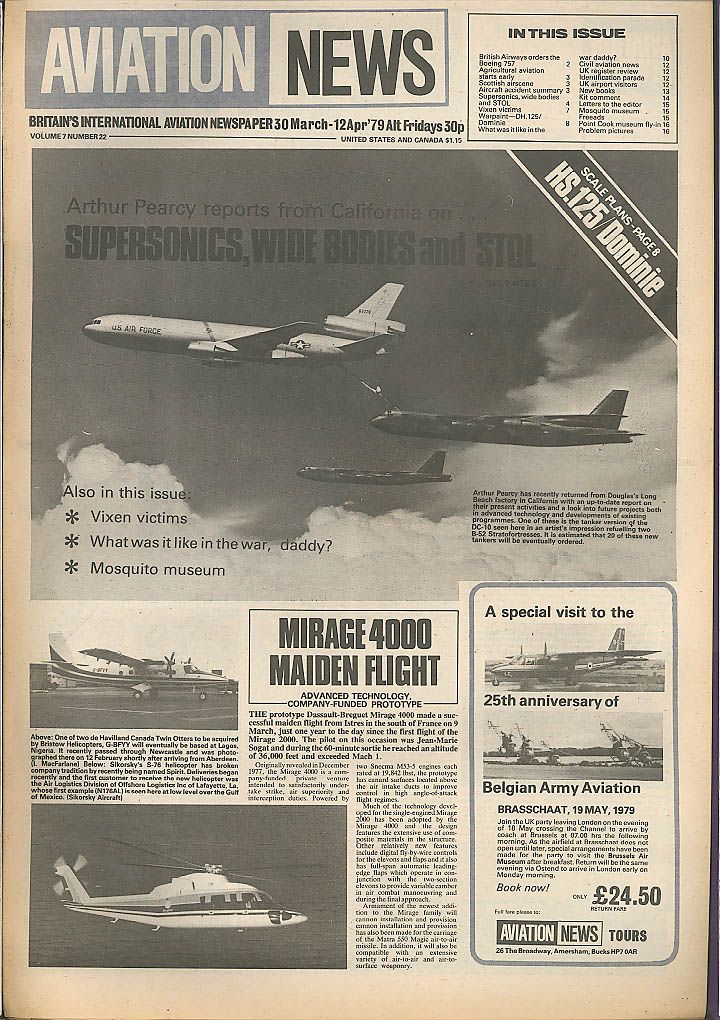 Mirage 4000 HS.125 Dominie Aviation News 3/30 1979