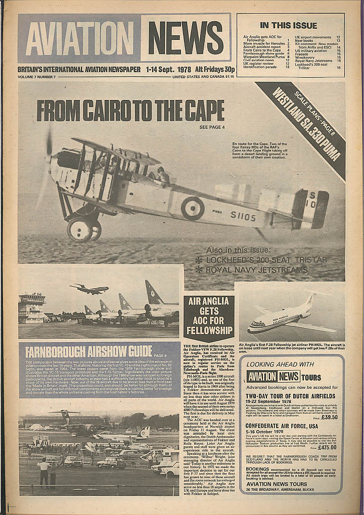 RAF Cairo to Cape Westland Puma Aviation News 1978