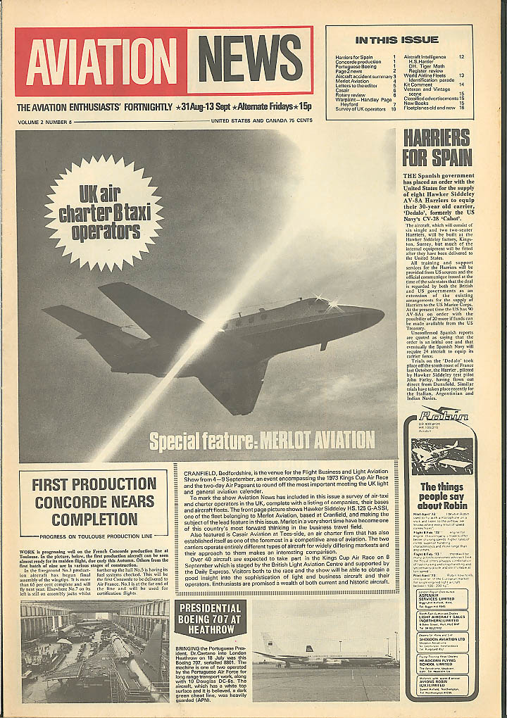 Merlot HS.125 Handley Page Heyford Aviation News 1973