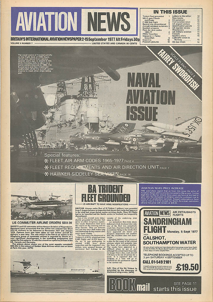 Trident 3 grounded Fairey Swordfish Aviation News 1977