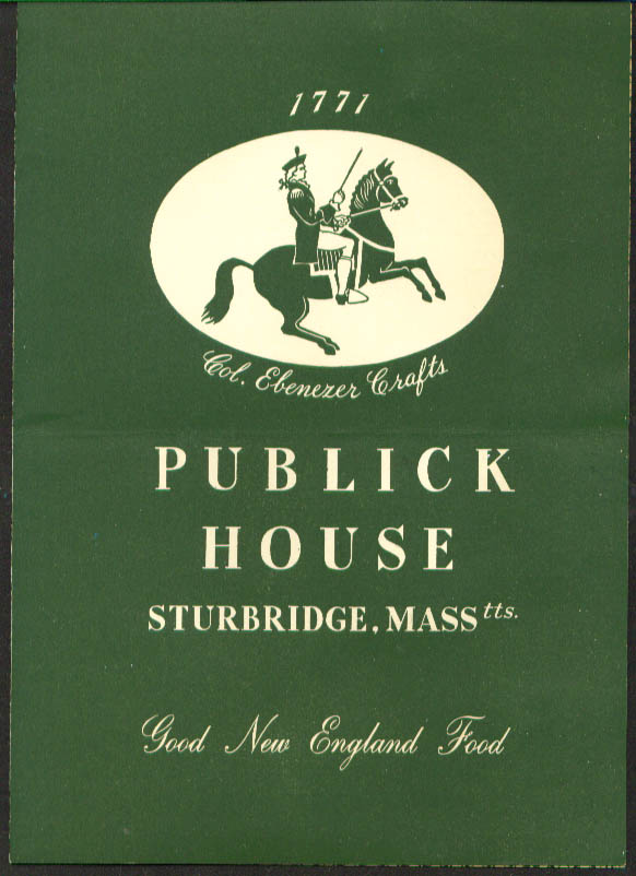 Publick House Sturbridge MA menu 1950