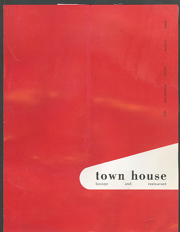 Town House Lounge & Restaurant Boston menu 1950