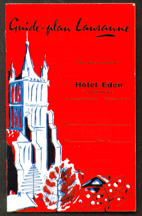 Hotel Eden Guide-plan Lausanne Switzerland booklet 1950s