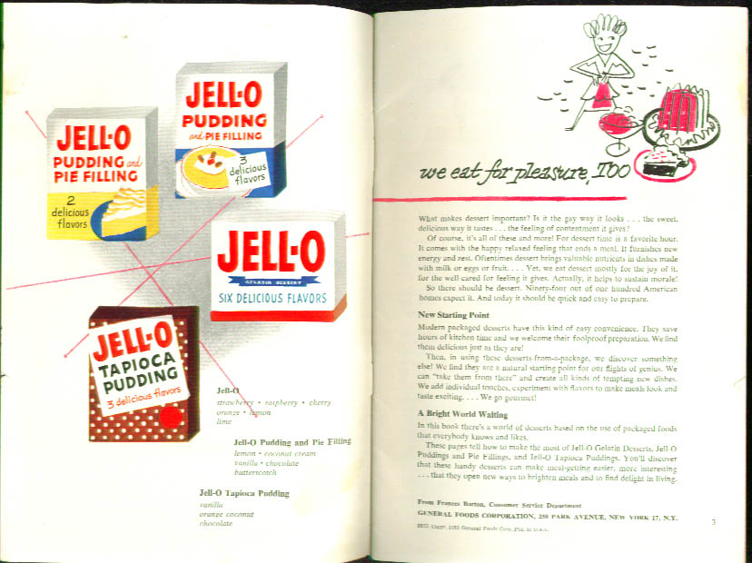 Jell-O & Pudding Dessert Time Recipe booklet 1952