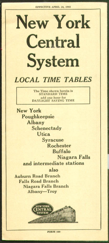 New York Central RR Local Time Tables NY-Niagara 1955