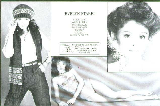 Fashion model Evelyn Stark Boyd Talent Agency card 70s