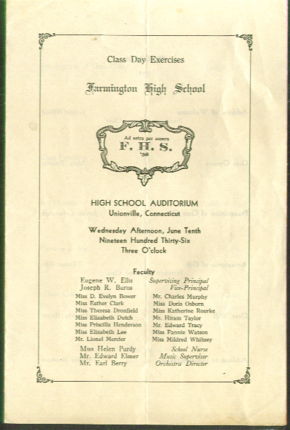 Farmington High School Unionville CT Graduation Program 1936