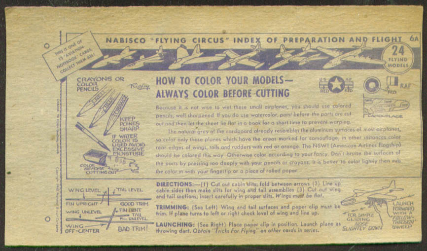 Nabisco Flying circus How to Color Card 6A 1938