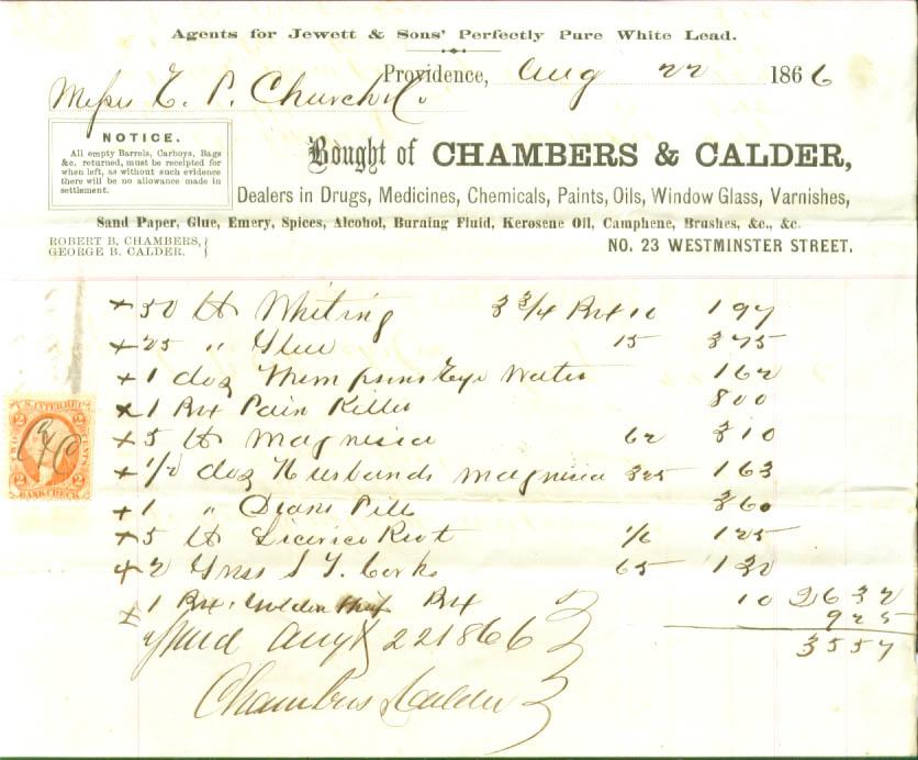 Chambers & Calder Drug Providence RI revenue stamp 1866