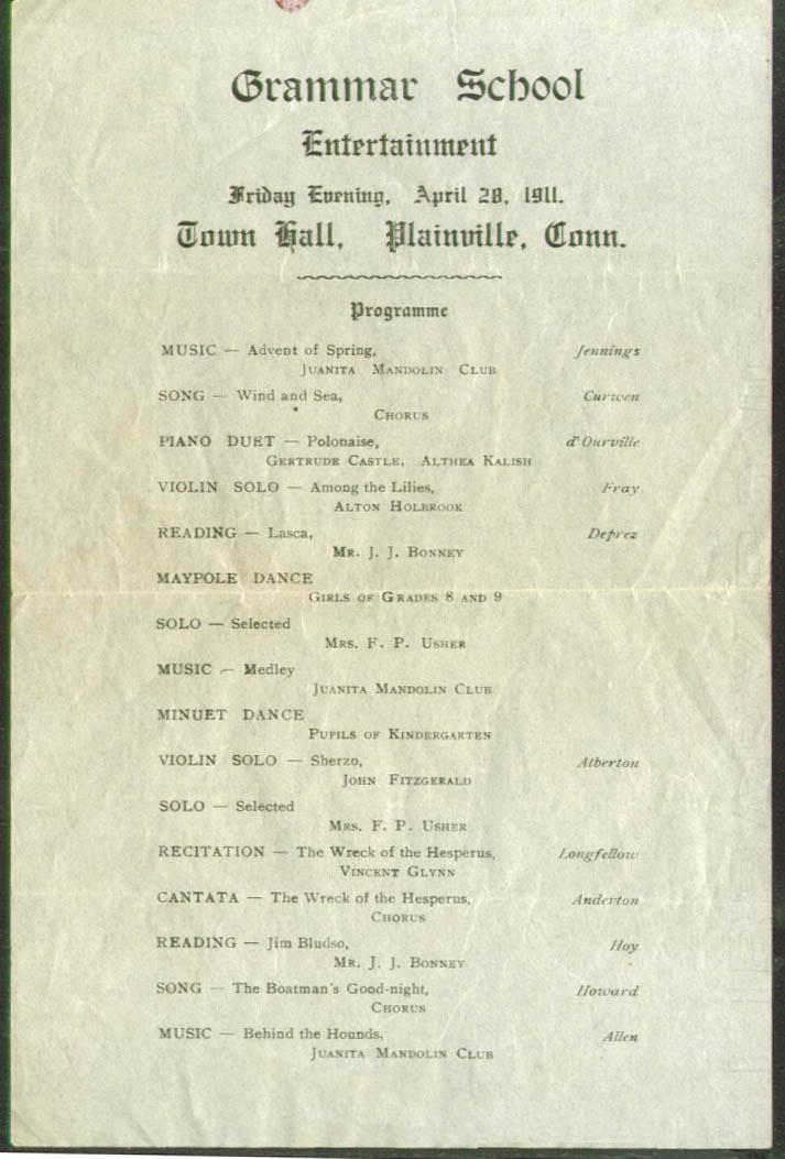 Grammar School Entertainment Plainville CT flyer 1911