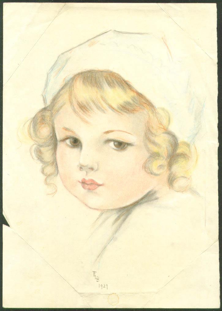 Little blonde girl Florence Litchfield pastel 1927