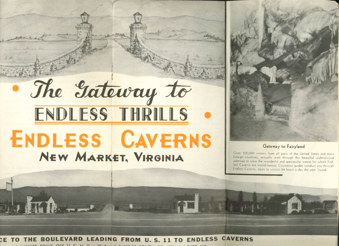 Endless Caverns New Market VA tourist folder 1930s