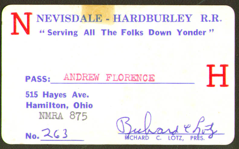 Nevisdale Hardburley Model RR Pass Hamilton OH 1960s