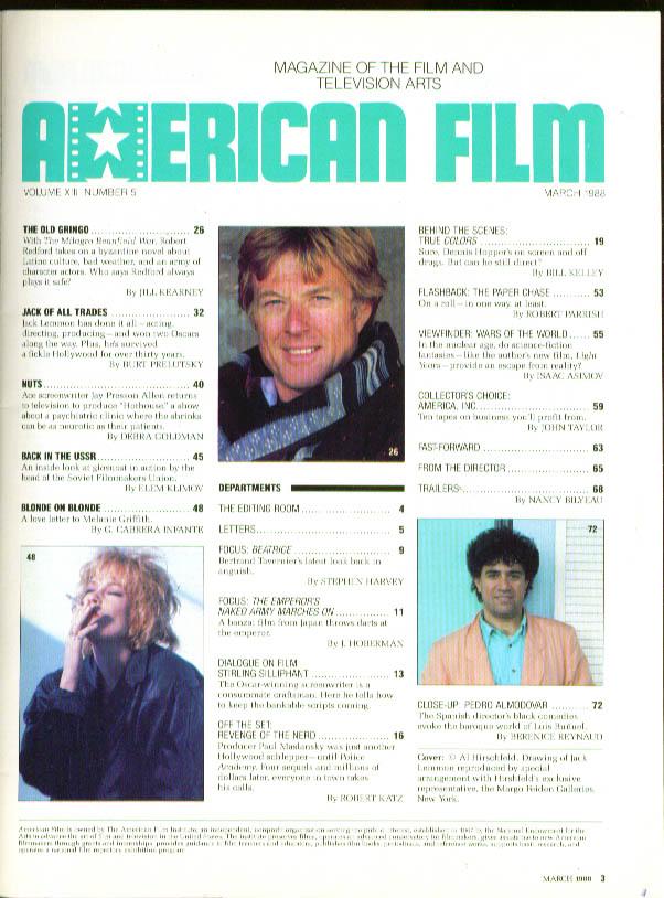 AMERICAN FILM Jack Lemmon by Hirschfeld Pedro Almodovar Melanie Griffith 3 1988