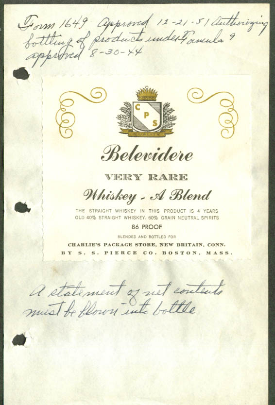 Belevidere Whiskey Charlie's Package New Britain CT 1944