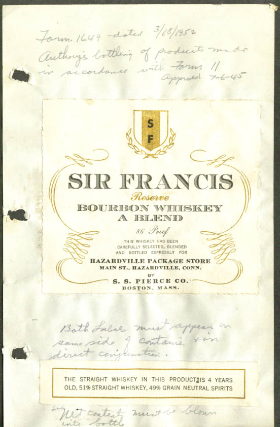 Sir Francis Whiskey label Hazardville Package CT 1952