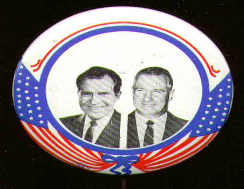 Nixon Agnew pinback 1968 no message