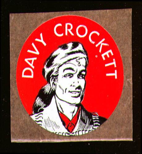 "Davy Crockett 1 3/4"" diameter sticker 1950s"