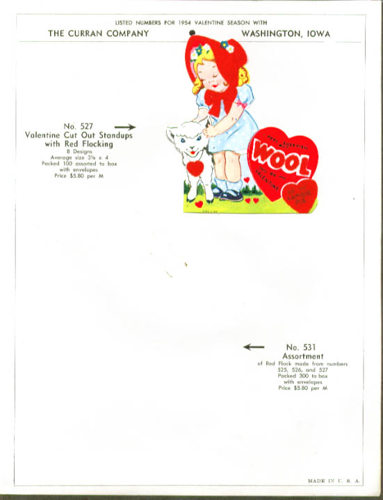4 flocked Valentine cards 1950s including sell sheet