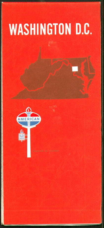 American Gasoline Road Map Washington DC 1967