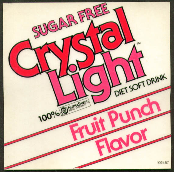 Crystal Light Diet Soft Drink window decal 1980s