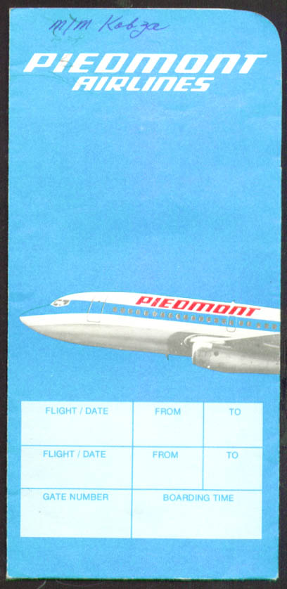 Piedmont Airlines Ticket Wrapper 1983