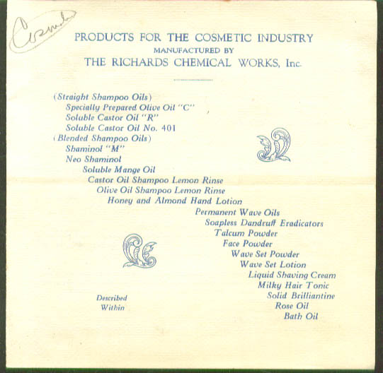 Richards Products for Cosmetic Industry folder 1920s