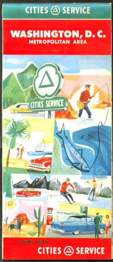 Cities Service Gasoline Road Map Washington DC 1957