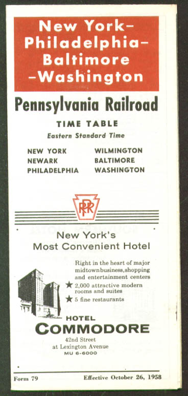Pennsylvania RR NY-Phila-Baltimore-DC TT 1958 2nd ed