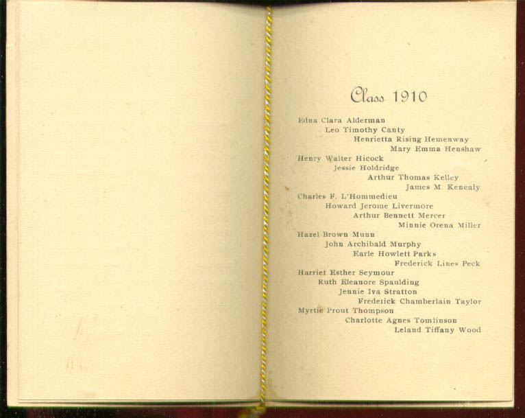 Connecticut Literary Institution Commencement program 1910