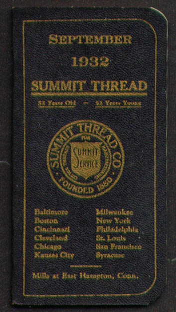 Summit Thread E Hampton CT Pocket Notebook 9 1932