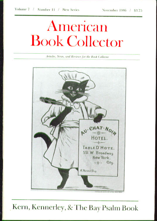 Miss Frank's Menus American Book Collector 11 1986