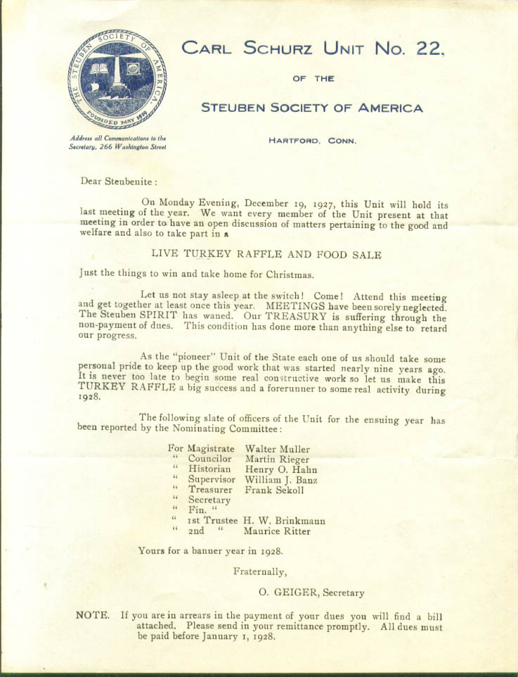 Steuben Society Hartford CT Turkey Raffle Letter 1928