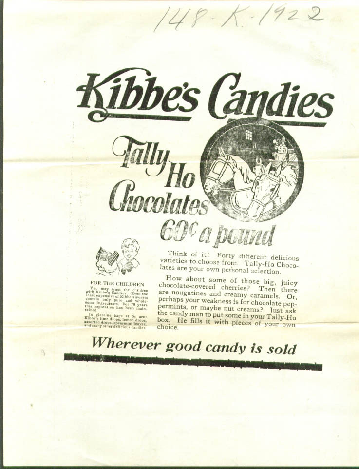 Kibbe's Tally-Ho Chocolates 60c pound ad proof 1923