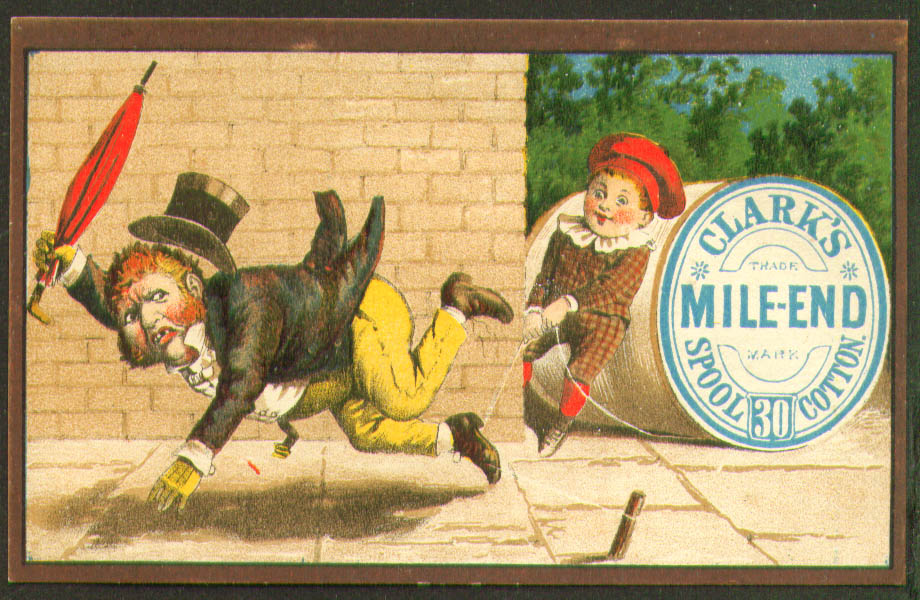 Image for Clark's Mile-End Thread trip the dandy trade card 1880s
