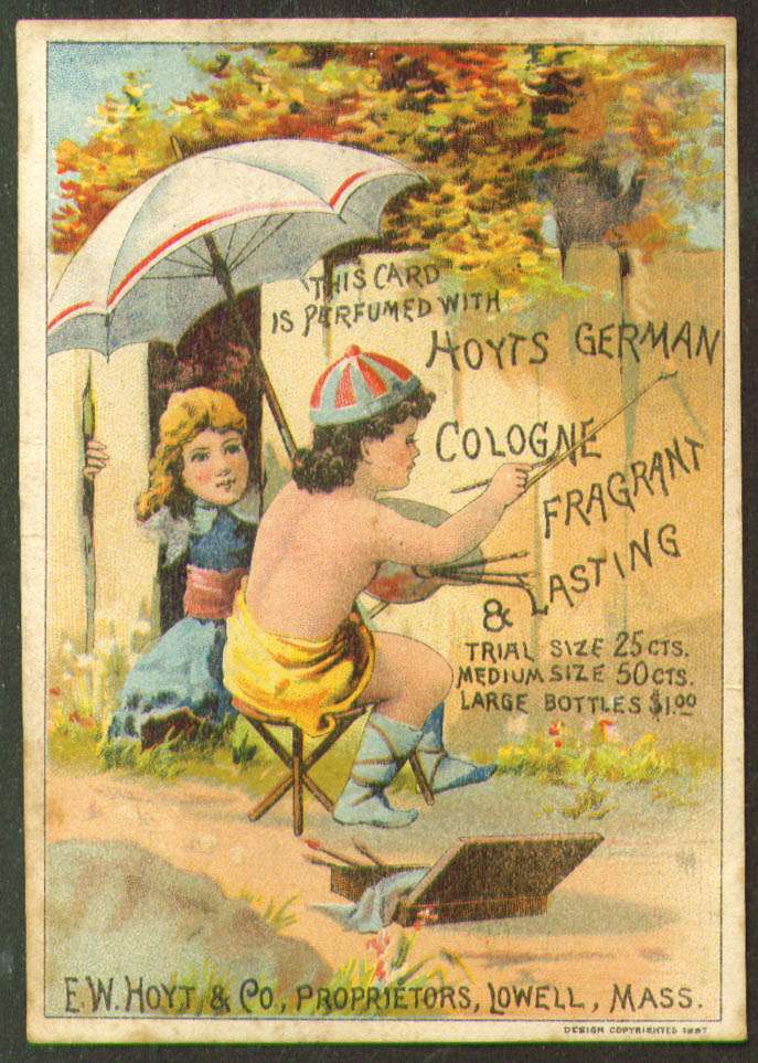 Image for Hoyt's German Cologne girl paints fence tradecard 1880s