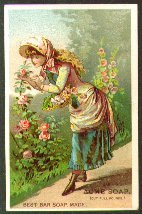 Acme Soap Girl smells  rose Lautz Bros trade card 1880s