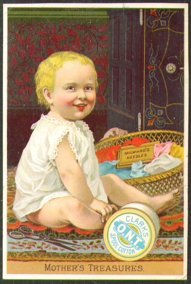 Image for Clark's Thread Milward Needles baby trade card 1880s