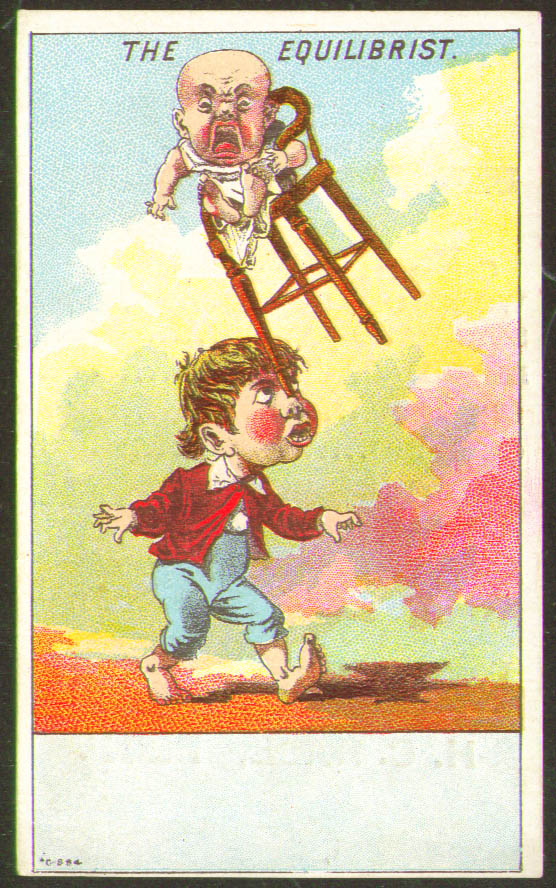 Image for Equilibrist boy balances baby in high chair card 1880s