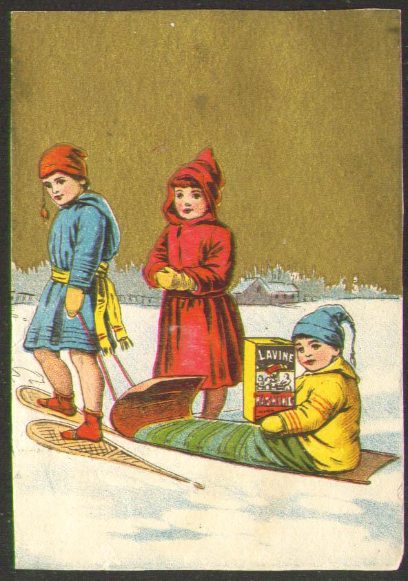 Image for Lavine Soap snowshoes toboggan Hartford CT card 1880s